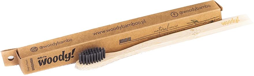 Cepillo dental de bambú, dureza suave, negro - WoodyBamboo Bamboo Toothbrush Natural