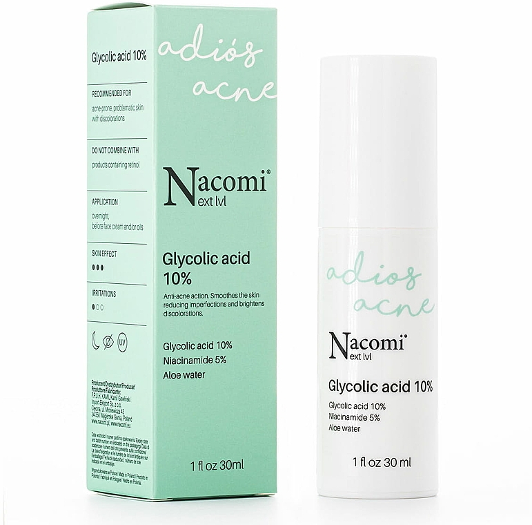 Sérum de noche con ácido glicólico, agua de aloe y niacinamida - Nacomi Next Level Glycolic Acid 10%