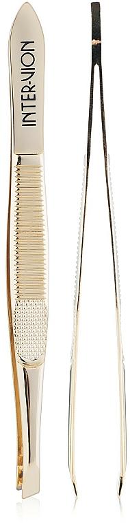 Pinza de depilar oblicua, 499925,, color dorado - Inter-Vion