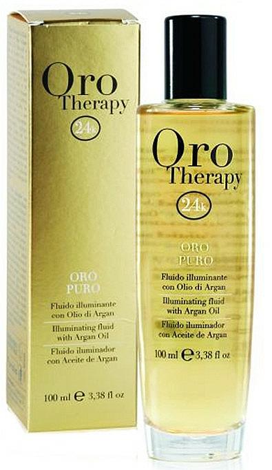 Fluido iluminador de cabello con aceite de argán, oro microactivo y filtro solar - Fanola Oro Therapy Fluido Oro Puro