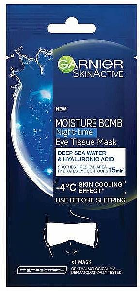 Mascarilla contorno de ojos de noche con agua de mar y ácido hialurónico - Garnier Moisture Bomb Deep Sea Water and Hyaluronic Acid Mask