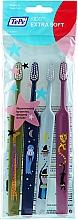 Perfumería y cosmética Cepillos dentales extra suaves (verde, azul oscuro, azul claro y rosa), 4uds. - TePe Kids Extra Soft
