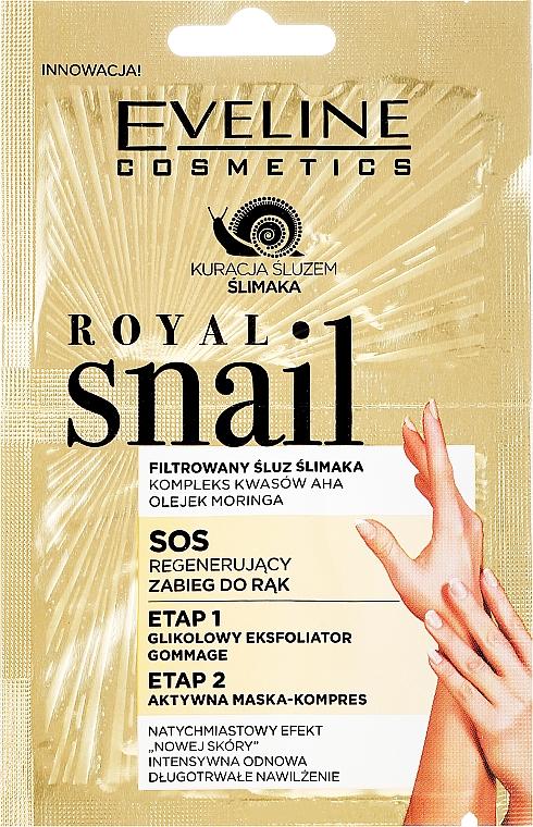 Exfoliante y mascarilla para manos con extracto de baba de caracol - Eveline Cosmetics Royal Snail Sos Regenerating Hand Treatment