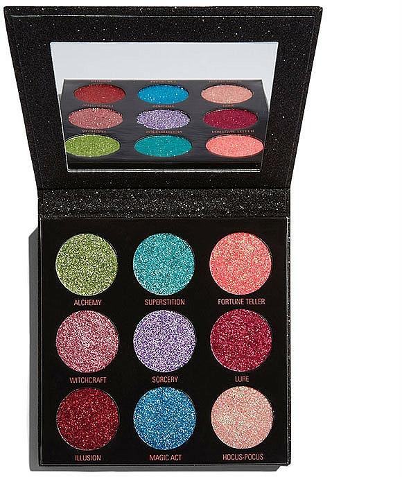 Paleta de sombras de ojos brillantes con espejo - Makeup Revolution Pressed Glitter Palette Abracadabra