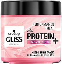 Perfumería y cosmética Mascarilla 4 en 1 para dar brillo al cabello dañado y teñido con proteína y aceite de babasú - Schwarzkopf Gliss Kur Performance Treat