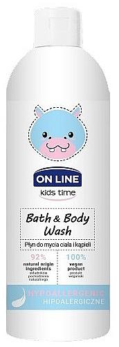 Gel de ducha y baño natural hipoalergénico con ácido hialurónico - On Line Kids Time Bath & Body Wash Hypoallergenic