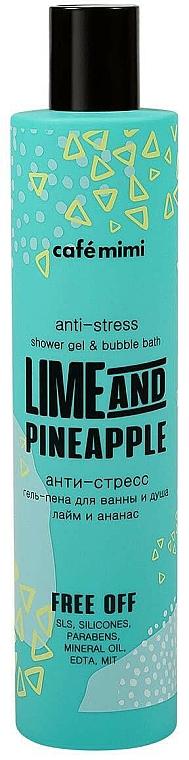 Gel de ducha y espuma de baño relajante con aceite de lima y extracto de piña - Cafe Mimi Anti-Stress Shower Gel & Bubble Bath Lime And Pinapple