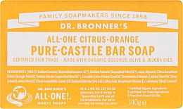 Perfumería y cosmética Jabón orgánico de coco, oliva y jojoba con cítricos y naranja - Dr. Bronner's Pure Castile Bar Soap Citrus & Orange