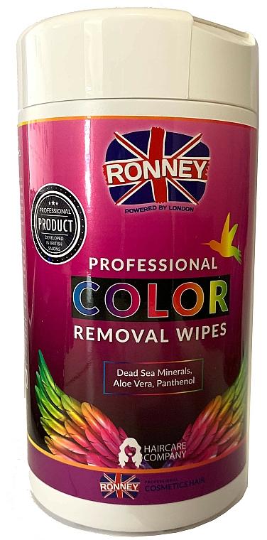 Toallitas para manchas de tinte con aloe vera y pantenol, 100uds. - Ronney Profesional Color Removal Wipes