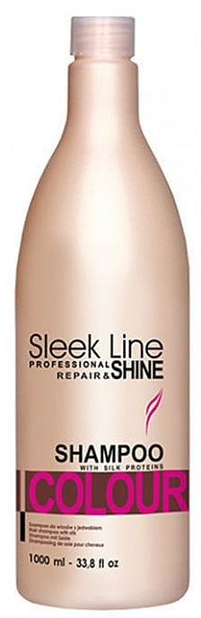 Champú con proteínas de seda y extracto de almendra - Stapiz Sleek Line Colour Shampoo