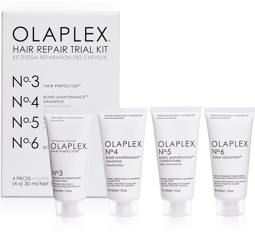Kit reparación de cabello - Olaplex Hair Repair Trial Kit (champú/30ml + acondicionador/30ml + elixir/30ml + crema/30ml)