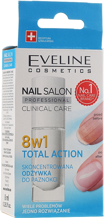 Fortalecedor de uñas 8en1 - Eveline Cosmetics Nail Salon Clinical Care 8 in 1
