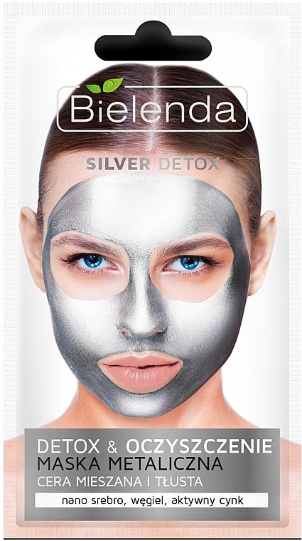 Mascarilla facial con nanopartículas metálicas, carbon negro y zinc - Bielenda Silver Detox Metallic Mask