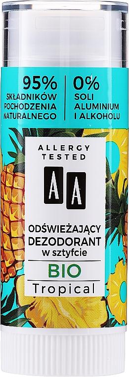 Desodorante natural en stick con aroma tropical, sin sales de aluminio ni alcohol - AA Bio Tropical Deodorant Stick