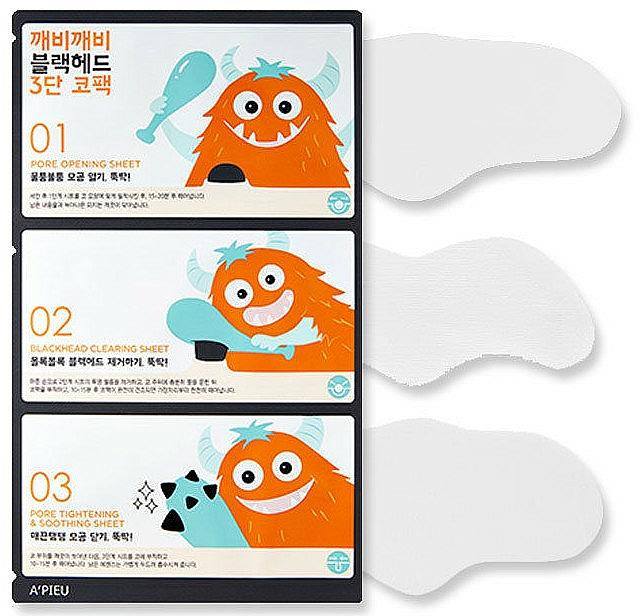 Tiras limpiadoras de poros en 3 pasos con extracto de pomelo - A'pieu Goblin Blackhead 3-Step Nose Pack