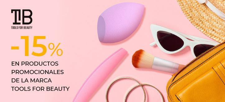 Descuento del 15% en productos promocionales de la marca Tools For Beauty. Los precios indicados tienen el descuento aplicado