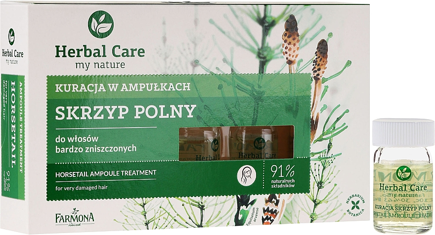 Tratamiento capilar para crecimiento del cabello con extracto de ginseng - Farmona Herbal Care Horsetail Ampoule Treatment