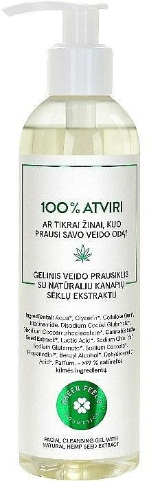 Gel facial limpiador con extracto natural de semilla de cáñamo - Green Feel's