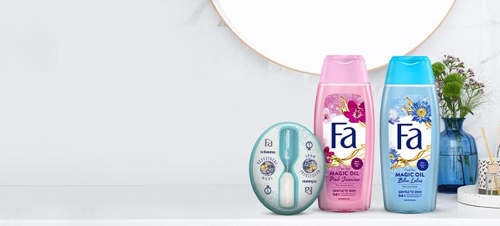 Por la compra de productos Fa superior a 5 €, llévate de regalo un reloj de arena para la ducha