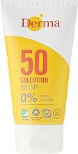Perfumería y cosmética Loción protectora solar para rostro y cuerpo, hipoalergénica SPF 50 - Derma Sun Lotion SPF50