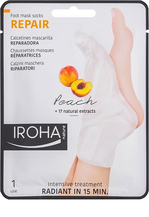 Mascarilla calcetines reparadora con extracto de melocotón - Iroha Nature Repair Peach Socks Foot Mask — imagen N1