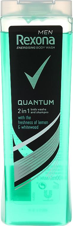 Champú y gel de ducha 2en1 con limón y madera blanca - Rexona Men Quantum Shower Gel Body & Hair — imagen N1