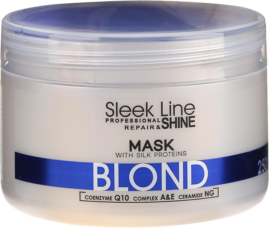 Mascarilla capilar neutralizadora de tonos amarillos con proteínas de seda, coenzima Q10 y ceramidas - Stapiz Sleek Line Blond Hair Mask