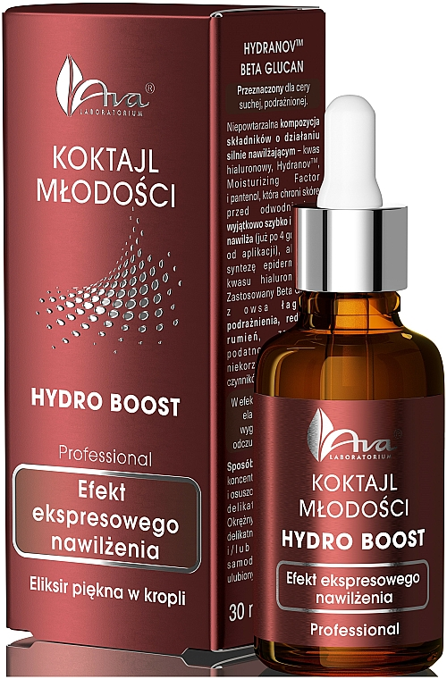 Cóctel rejuvenecedor facial con ácido hialurónico y pantenol - Ava Laboratorium Hydro Boost