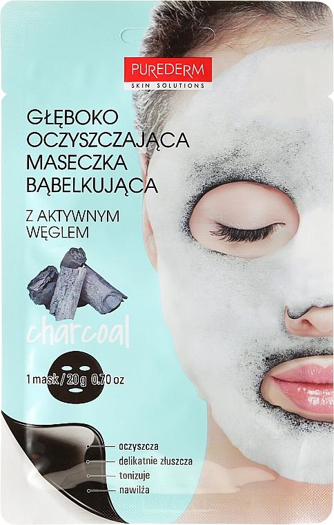 Mascarilla facial de tejido con carbón activado u extracto de papaya - Purederm Deep Purifying Black O2 Bubble Mask Charcoal — imagen N1