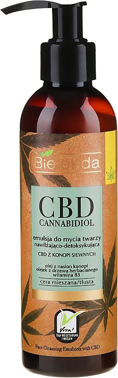 Emulsión de limpieza facial con vitamina B3 y aceite de semilla de cáñamo - Bielenda CBD Cannabidiol Emulse
