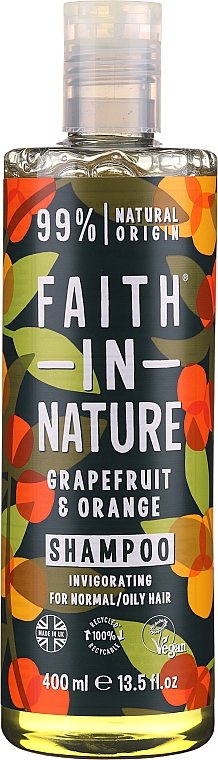 Champú natural vegano con aceites de pomelo y naranja - Faith In Nature Grapefruit & Orange Shampoo