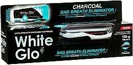 Perfumería y cosmética Set denal - White Glo Charcoal Bad Breath Eliminator (pasta/100ml + cepillo negro con blanco/1)