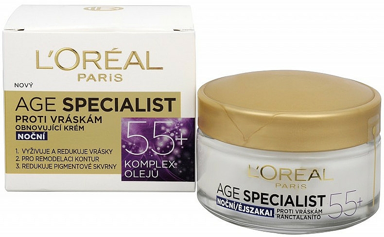 Crema de noche antiedad con aceite de albaricoque - L'Oreal Paris Age Specialist 55+ — imagen N1