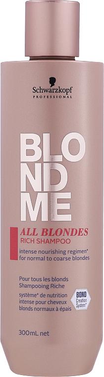 Champú para todo tipo de cabello rubio con complejo de proteínas de cachemira - Schwarzkopf Professional Blondme All Blondes Rich Shampoo