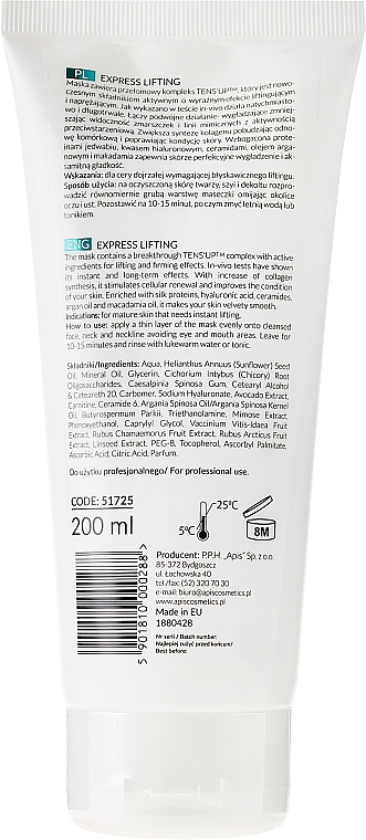Mascarilla facial reafirmante intensiva con complejo Tens'Up - APIS Professional Express Lifting Intensively Tensioning Mask With Tens UP — imagen N2
