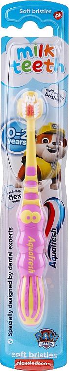 Cepillo dental de dureza suave de 0 a 2 años, amarillo con rosa - Aquafresh Milk Teeth Soft
