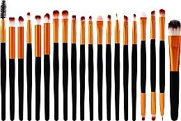 Perfumería y cosmética Set profesional de brochas y pinceles de maquillaje, 20uds., color negro con dorado - Lewer