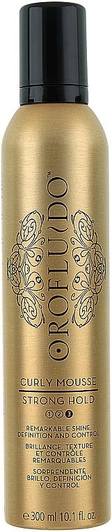 Espuma para definición, brillo y control con aceite de coco, fijación fuerte - Orofluido Curly Mousse Strong Hold