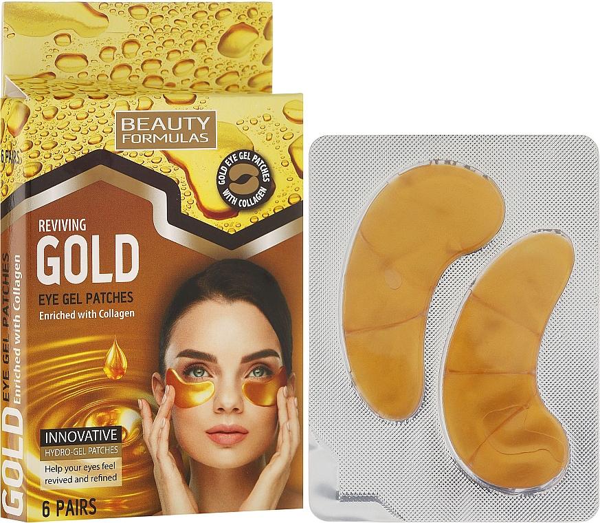 Parches de ojos de gel con colágeno - Beauty Formulas Reviving Gold Eye Gel Patches