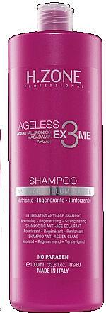 Champú iluminador antiedad con ácido hialurónico, macadamia y argán - H.Zone Ageless Ex3me Anti-Age Illuminante Shampoo — imagen N1
