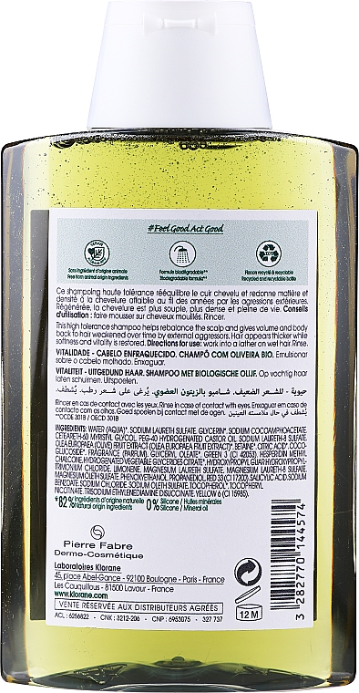 Champú con extracto de oliva - Klorane Thickness & Vitality Shampooing With Essential Olive Extract — imagen N2
