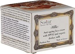 Perfumería y cosmética Crema facial antiedad con leche de burra orgánica - Sostar Anti-Ageing Face Cream SPF50 with Donkey Milk