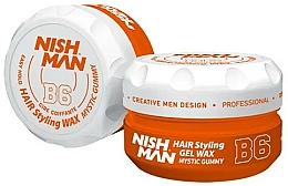 Perfumería y cosmética Cera moldeadora de cabello en gel a base de agua, fijación máxima - Nishman Hair Styling Gel Wax B6 Mystic Gummy