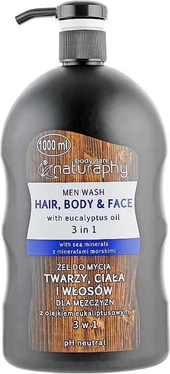 Champú & Gel de ducha corporal y facial 3 en 1 con aceite de eucalipto - Bluxcosmetics Naturaphy Men