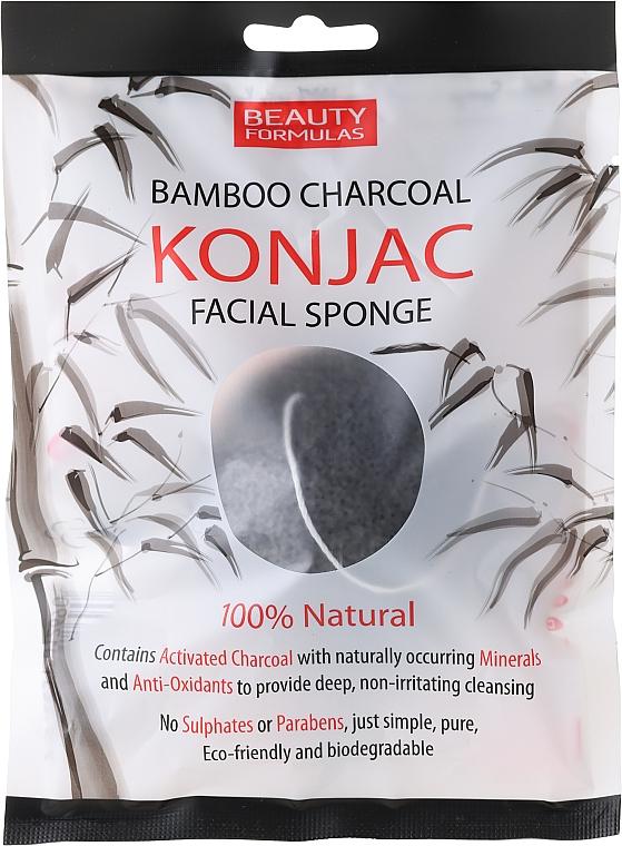 Esponja facial con carbón de bambú 100% natural - Beauty Formulas Konjac Bamboo Charcoal Facial Sponge