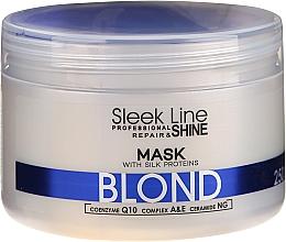 Perfumería y cosmética Mascarilla capilar neutralizadora de tonos amarillos con proteínas de seda, coenzima Q10 y ceramidas - Stapiz Sleek Line Blond Hair Mask