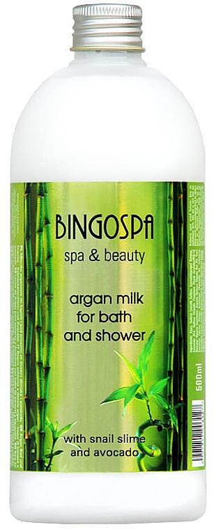 Leche de argán para baño y ducha con aguacate - BingoSpa Argan Milk With Avocado And Snail Mucus Bath And ShowerBingoSpa