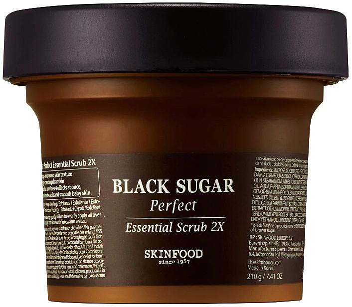 Exfoliante facial de azúcar morena, vino de arroz y extracto de frutas - SkinFood Black Sugar Perfect Essential Scrub 2X
