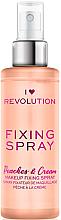 Perfumería y cosmética Spray fijador de maquillaje refrescante e hidratante con aroma a melocotón - I Heart Revolution Fixing Spray Peaches & Cream