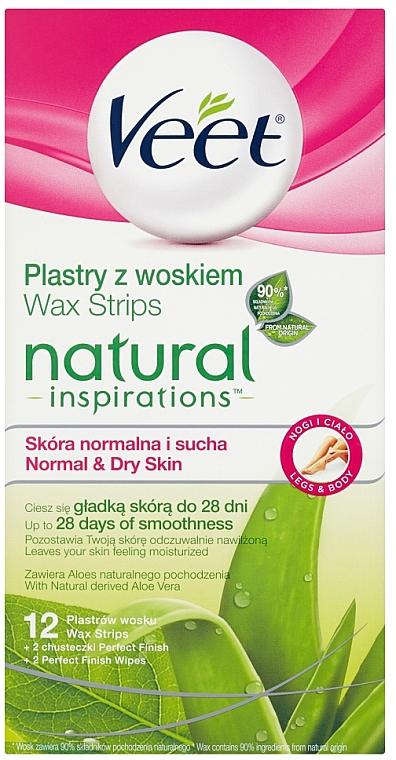 Bandas depilatorias de cera con aloe vera para piel normal y seca - Veet Natural Inspirations Slices Of Wax Normal And Dry Skin